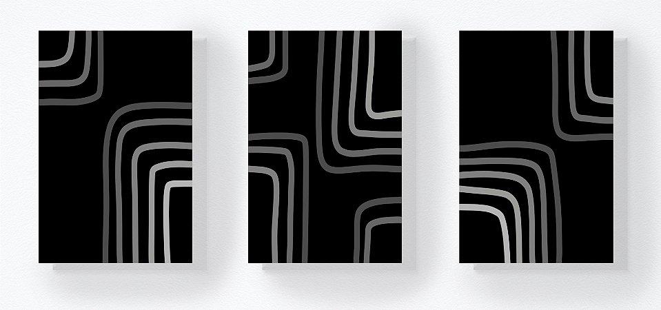 Trio Retangular Azulejos - Linhas Quadradas Escala de Cinza
