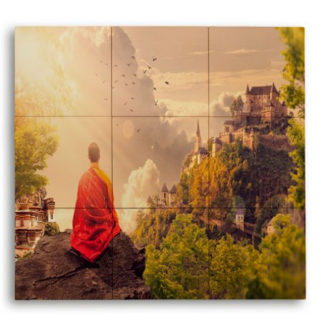 Painel Decorativo de Azulejo Monge Meditando 40x60cm