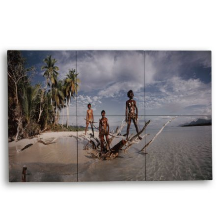 Painel com 6 Azulejos Tribo na Ilha