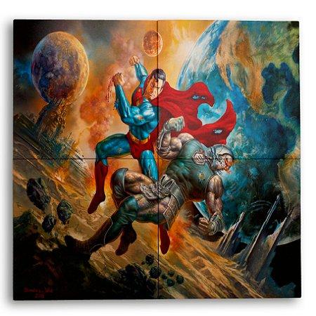 Painel Decorativo de Azulejo Superman vs Darkseid 40x40cm