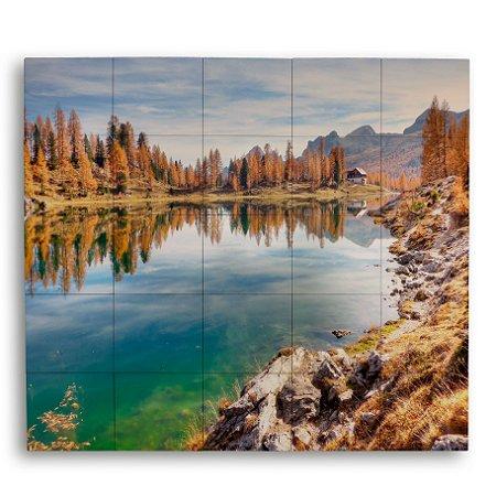 Painel com 25 Azulejos Paisagem Lago