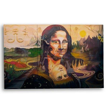 Painel Decorativo de Azulejo Arte Monalisa 40x60cm