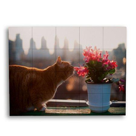 Painel com 20 Azulejos Gato e Flor