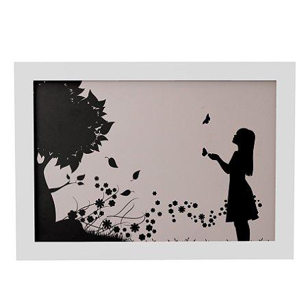 Quadro Decorativo Moça e Árvore
