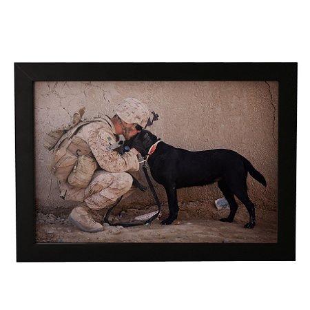 Quadro Decorativo Soldado e Cachorro