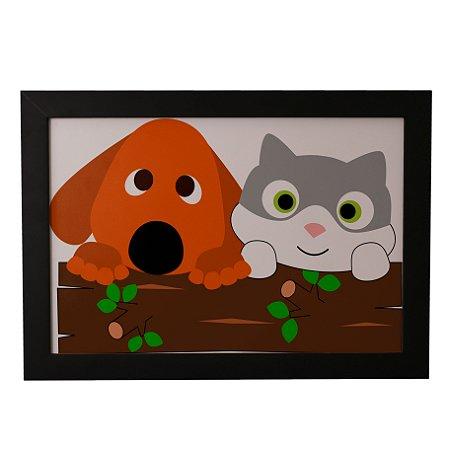 Quadro Decorativo Cão e Gato Bebês