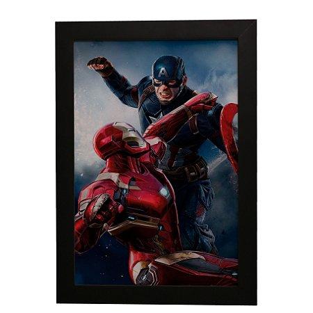 Quadro Decorativo Homem de Ferro vs Capitão América