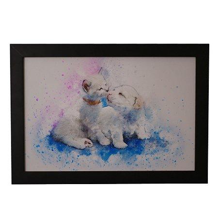 Quadro Decorativo Cãozinho e Gatinho em Aquarela