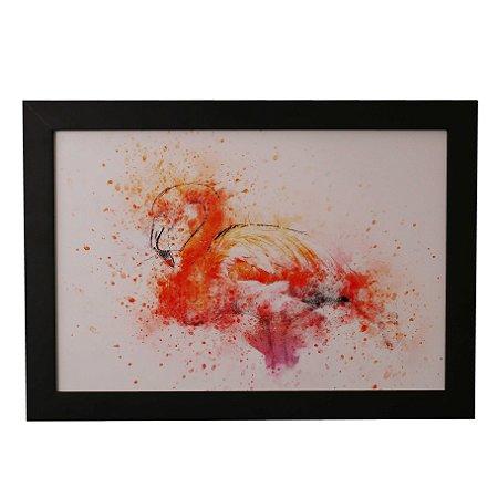 Quadro Decorativo Flamingo em Aquarela