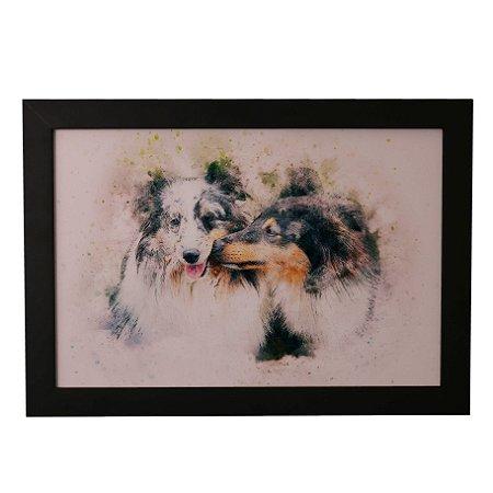 Quadro Decorativo Cães em Aquarela