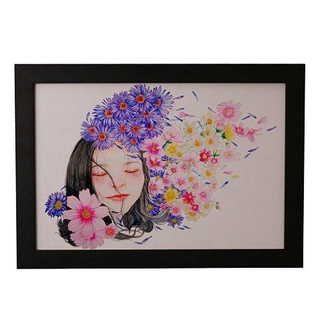 Quadro Decorativo Menina Florescendo