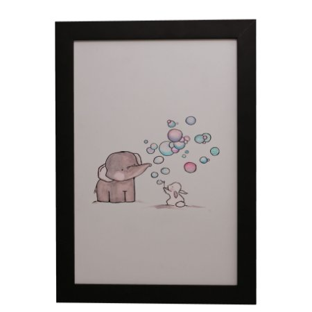 Quadro Decorativo Elefantinho e Coelhinho