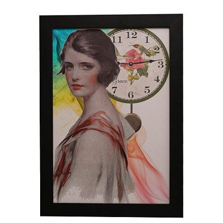 Quadro Decorativo Vintage Mulher e Tempo