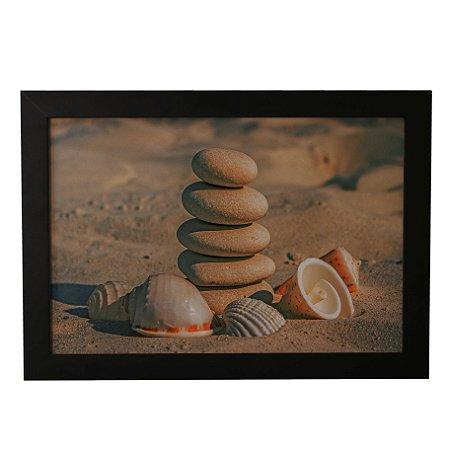 Quadro Decorativo Pedrinhas e Conchas