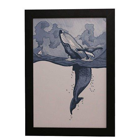 Quadro Decorativo Baleia em Alto Mar