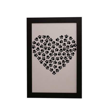 Quadro Decorativo Coração de Patinhas
