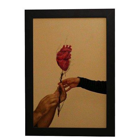 Quadro Decorativo Rosa de Coração