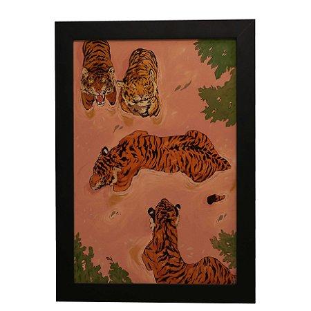 Quadro Decorativo Tigres No Pântano