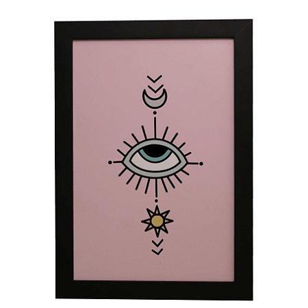 Quadro Decorativo Olho, Sol e Lua