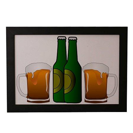 Quadro Decorativo Cervejas e Canecas