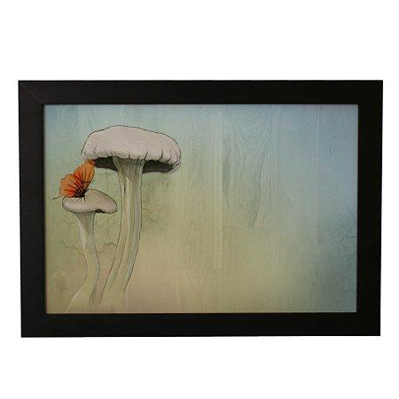 Quadro Decorativo Cogumelo e Borboleta