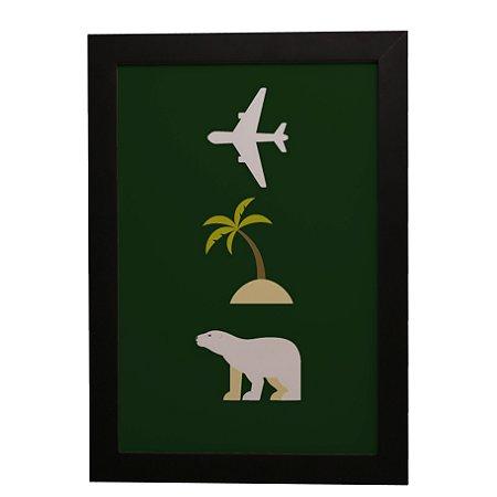 Quadro Decorativo Avião, Ilha e Urso