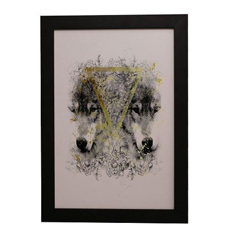 Quadro Decorativo Lobos e Triângulo