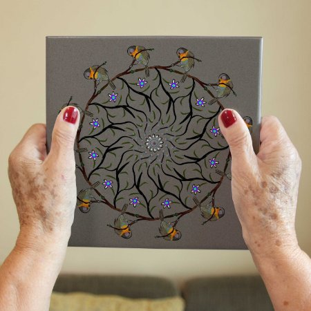 Azulejo Decorativo Mandala Pássaros