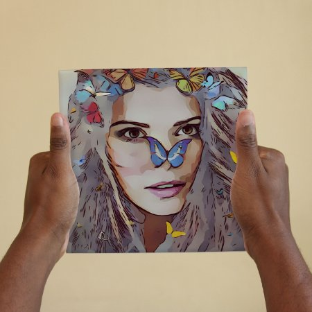 Azulejo Decorativo Arte Woman Butterflies