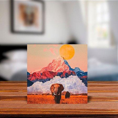 Azulejo Decorativo Collage Art Elefante