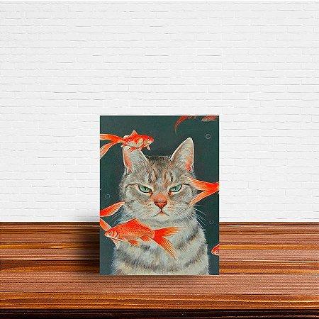Azulejo Decorativo Gato no Aquario