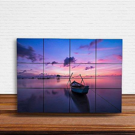 Painel Decorativo Barco Pôr do Sol