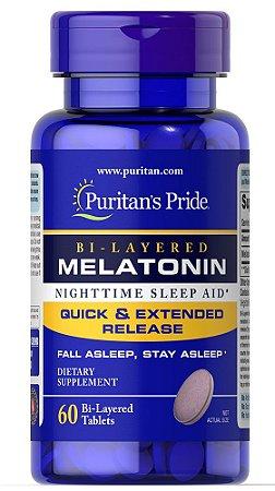 Melatonina Puritan's Pride 5 mg Dupla Camada 60 Tabletes