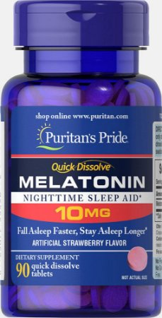Melatonina Puritan's Pride 10 mg Sublingual 90 Tabletes Sabor Morango