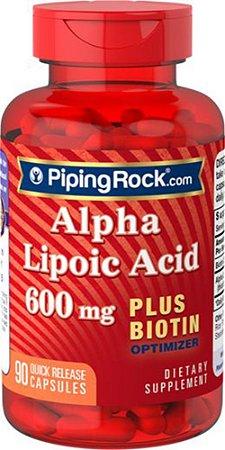 Ácido Alfa Lipóico 600 Mg + Biotina Piping Rock 90 Cápsulas
