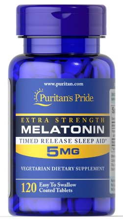 Melatonina Puritan's Pride 5 mg Time Release (Liberação Lenta) 120 Tabletes