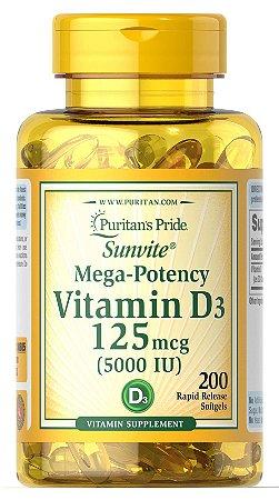 Vitamina D3 5000 UI Puritan's Pride 200 Softgels