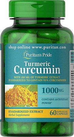 Turmeric Curcumin - Cúrcuma Açafrão Puritan's Pride 1000 mg 60 Cápsulas