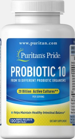 Complexo Probiótico 10 com 20 Bilhões de Organismos Puritan's Pride 120 Cápsulas