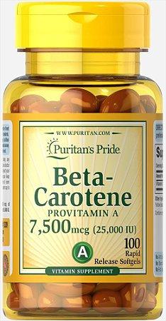 Betacaroteno Pró Vitamina A 25.000 UI Puritan's Pride 100 Softgels