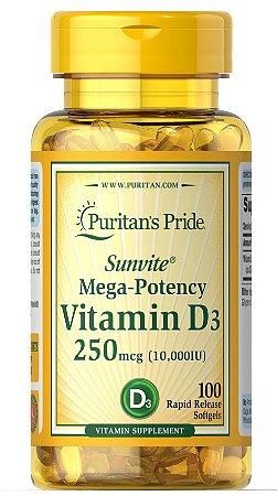 Vitamina D3 10.000 UI Puritan's Pride 100 Softgels
