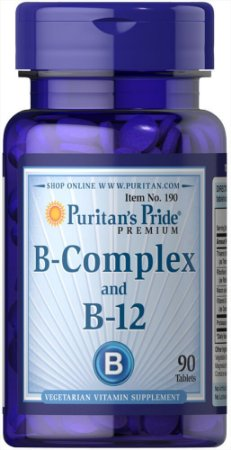 Vitamina B- Complex e Vitamina B-12 Puritan's Pride 90 Tabletes