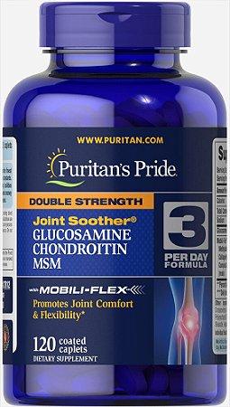 Double Strength Glucosamina, Condroitina & MSM Puritan's Pride 120 Cápsulas