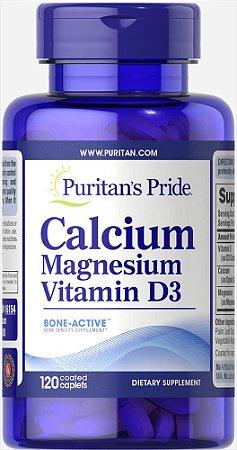 Cálcio, Magnésio e Vitamina D3 Puritan's Pride 120 Cápsulas