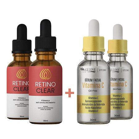 Kit 2 Retino Clear + 2 Vitamina C - Redutor de Rugas