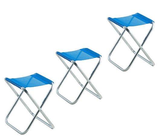 Kit com 3 Banquetas em Alumínio Azul