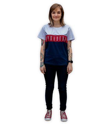 Camiseta Branca e azul com Faixa - Feminina