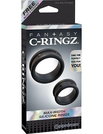 Kit de Anéis Penianos Preto Max-Width Silicone Rings Fantasy C-Ringz