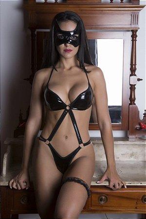 Fantasia Feminina Dominatrix com Body, Persex e Máscara