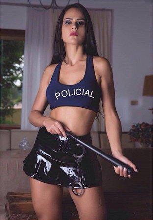 Fantasia Feminina Policial Sapeca com Blusinha, Saia e Calcinha